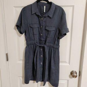 Zara Suede like Navy Blue Worker Dress